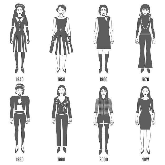 Fashion evolution black character set Free Vector