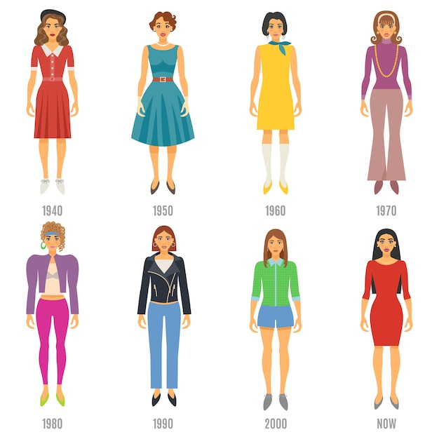 Fashion evolution characters set Free Vector