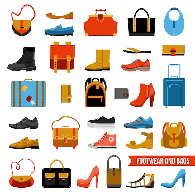 Fashion footwear and bags set Free Vector