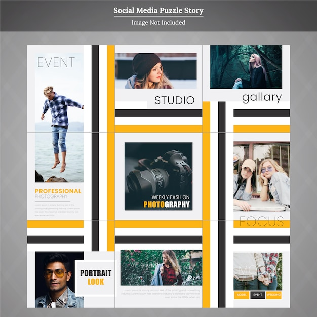 Fashion gallary social media puzzle story template Premium Vector