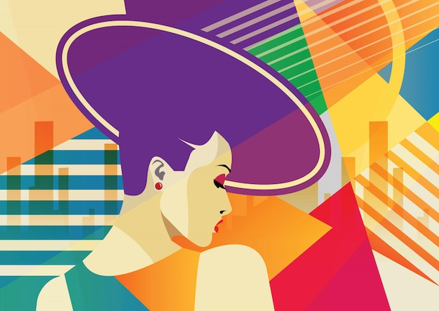 The fashion girl in sketch relaxes with a cup of coffee. Premium Vector