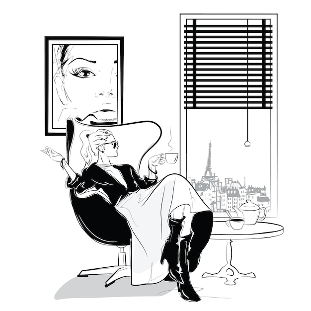 The fashion girl in sketch style relaxes with a cup of tea. Premium Vector