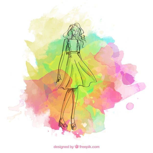 Fashion girl sketch with colorful paint stains Vector | Free Download