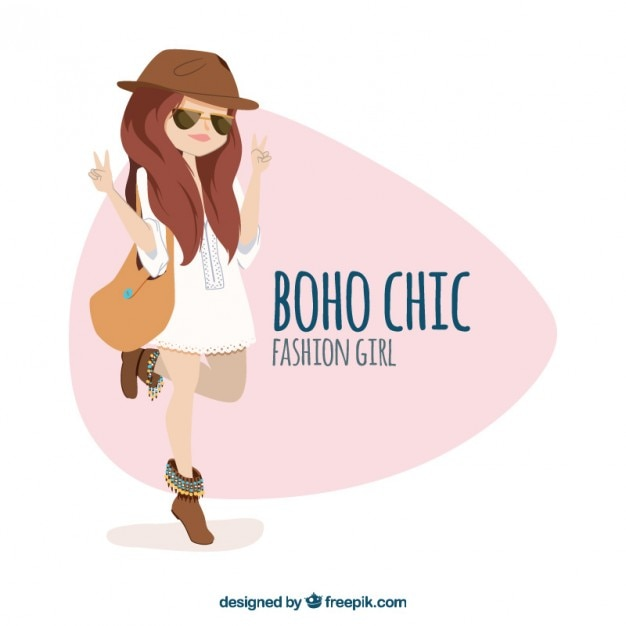 51d5b4b889 Fashion girl with boho chic clothes Free Vector