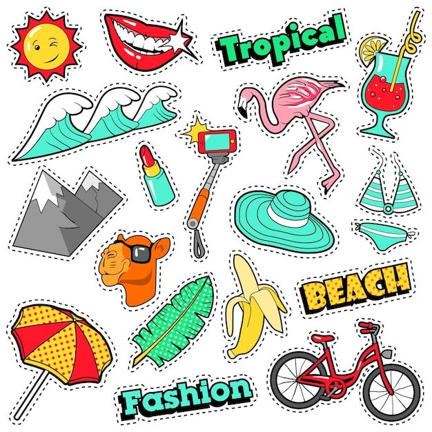 Модные значки, нашивки, наклейки для девочек - bicycle banana flamingo lipstick в стиле комиксов. каракули Premium векторы