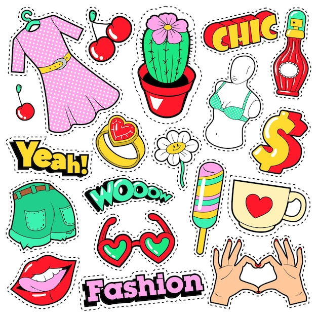 Fashion girls badges, patches, stickers - clothes, accessories, lips and hands in pop art comic style. Premium Vector