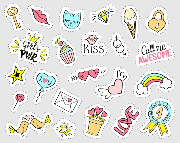 Fashion girly stickers set Premium Vector