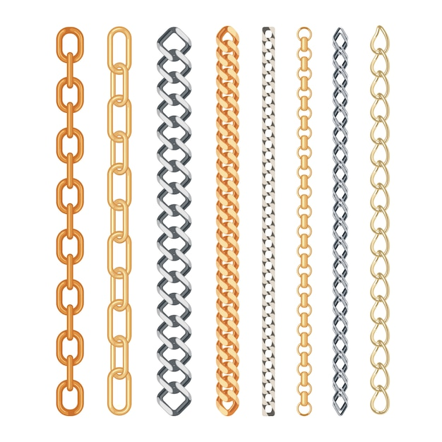 Fashion golden and silver chain set isolated Premium Vector