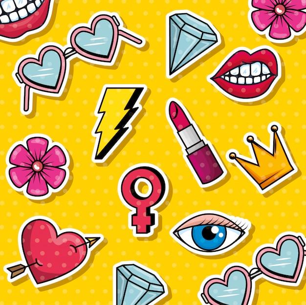 Pop art grafica di moda Vettore gratuito