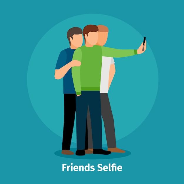 Fashion group selfie view mobile app Premium Vector