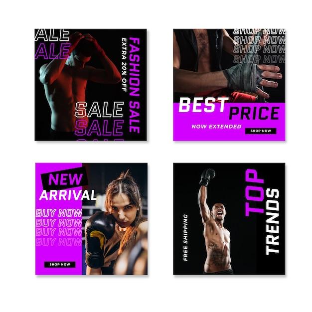 Мода тренажерный зал кислотный instagram продажа пост Бесплатные векторы