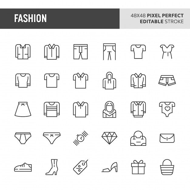Fashion  icon set Premium Vector