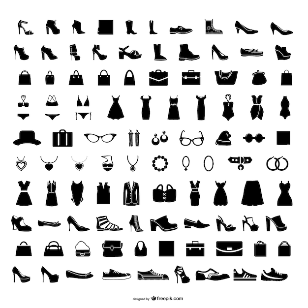 Fashion icons set Free Vector