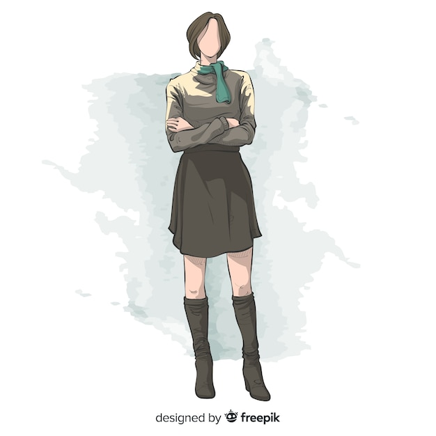 Fashion illustration hand drawn design Free Vector