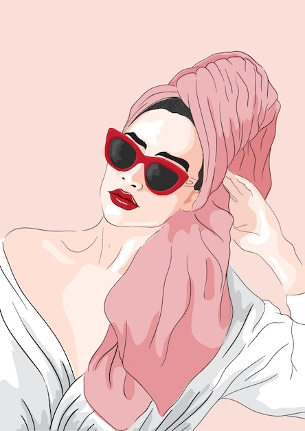 Fashion illustration. vector girl with towel in hair Premium Vector