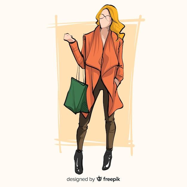 Fashion illustration with female model Premium Vector