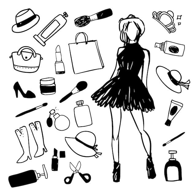 Collezione di illustrazioni di moda Vettore gratuito