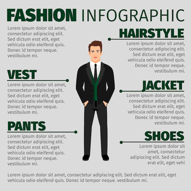 Fashion infographic template with man in suit Premium Vector