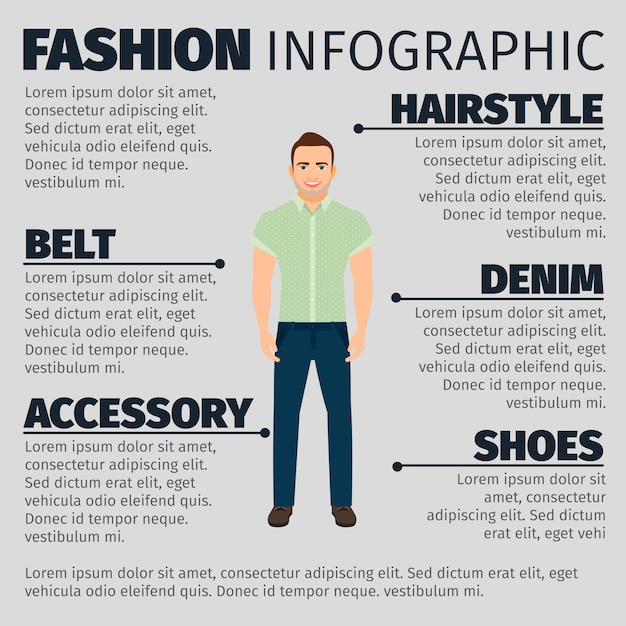 Fashion infographic with adult guy Premium Vector