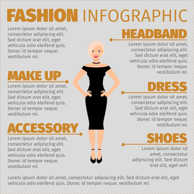 Fashion infographic with blonde in dress Premium Vector