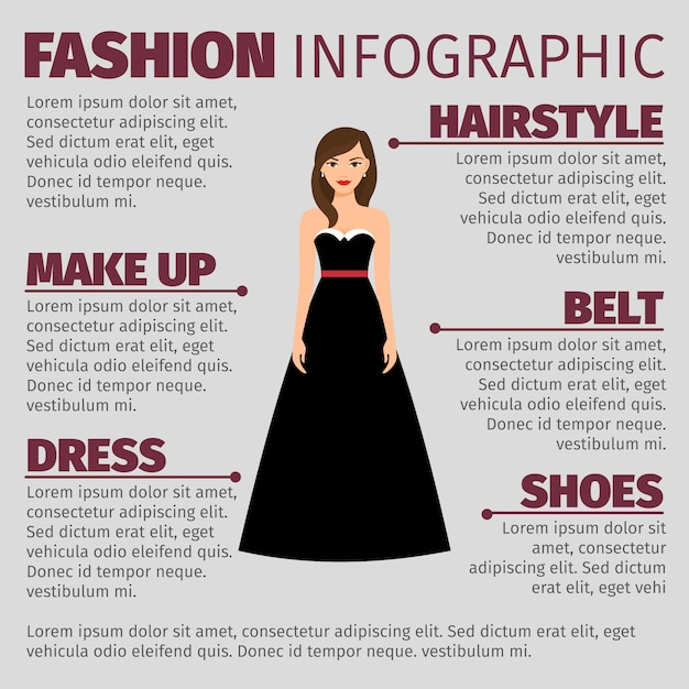 Fashion infographic with brunette in dress Premium Vector