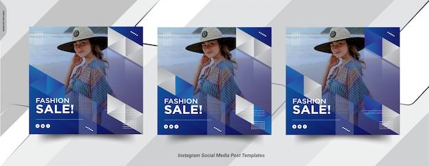 Набор fashion-insta post social medai дизайн шаблона поста Premium векторы