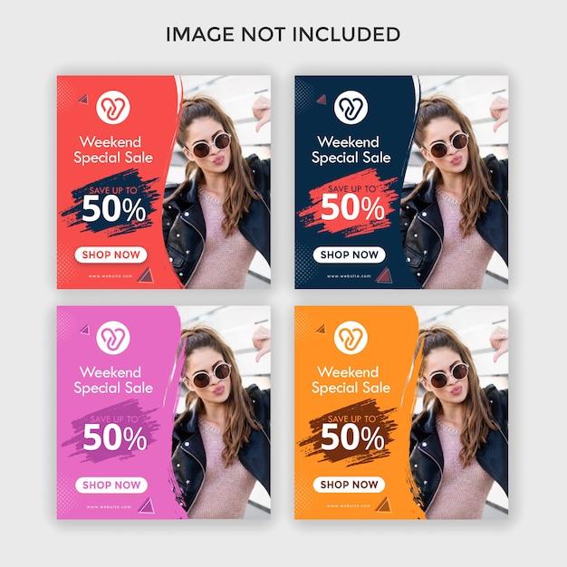 Fashion instagram ads square banner Premium Vector