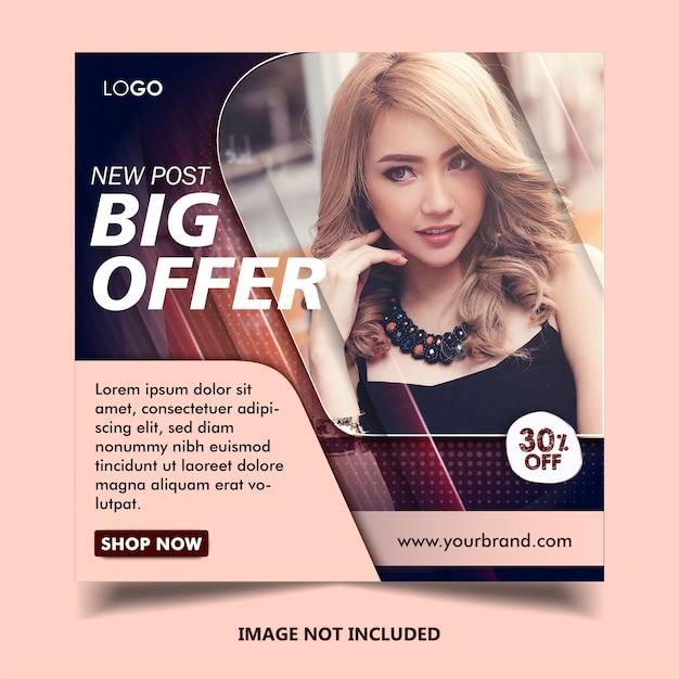 ファッションinstagramのバナー投稿テンプレート Premiumベクター