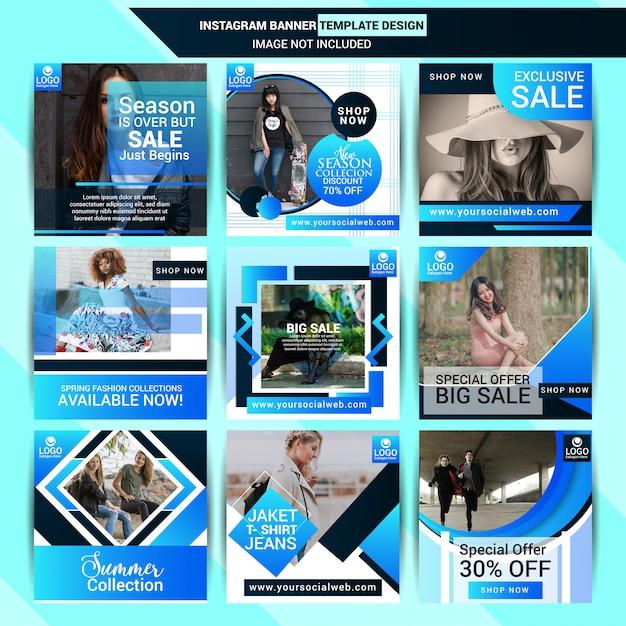 Fashion instagram post design with blue background Premium Vector