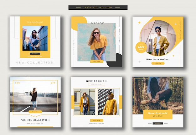 Fashion instagram post template or square banner collection Premium Vector