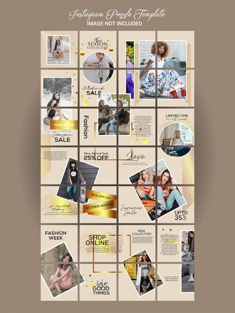 Fashion instagram puzzle set Premium Vector
