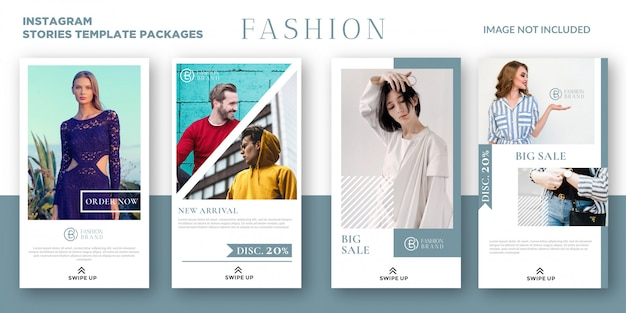 Fashion instagram stories template packages Premium Vector