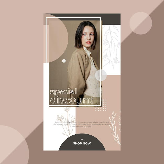 Fashion instagram story template Free Vector