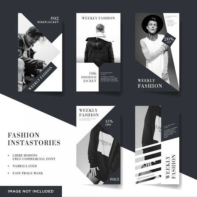 Fashion items instagram stories collection Premium Vector