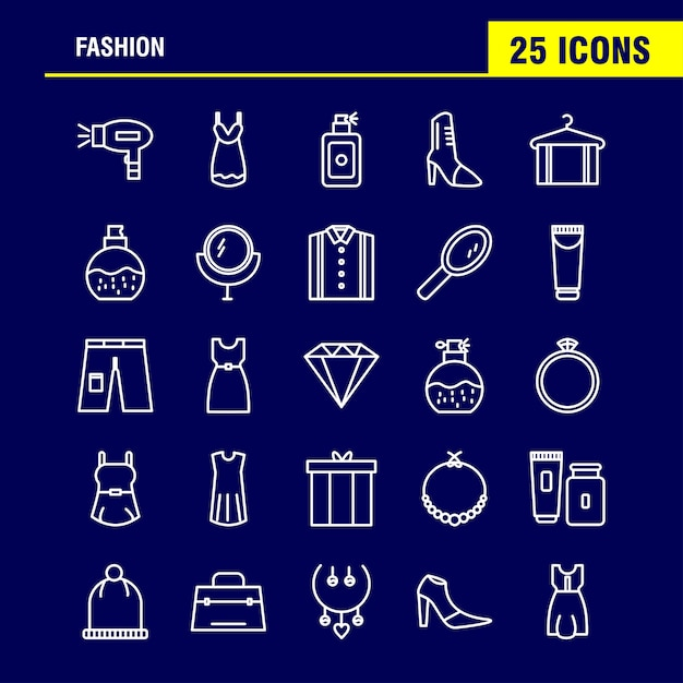 Fashion line icons Free Vector