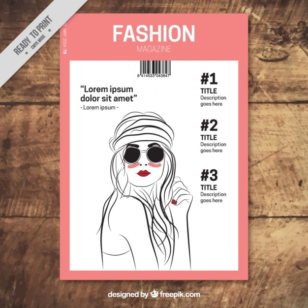 Fashion magazine with hand draw model Vector | Free Download