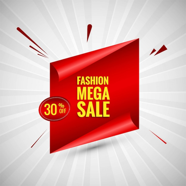Fashion mega sale colorful banner design vector Free Vector