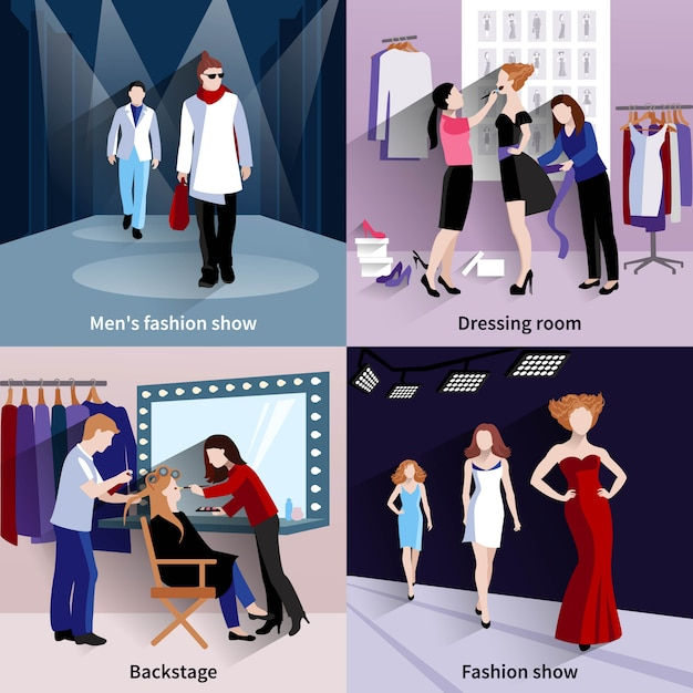 Fashion model concept set with catwalk and backstage flat icons Free Vector