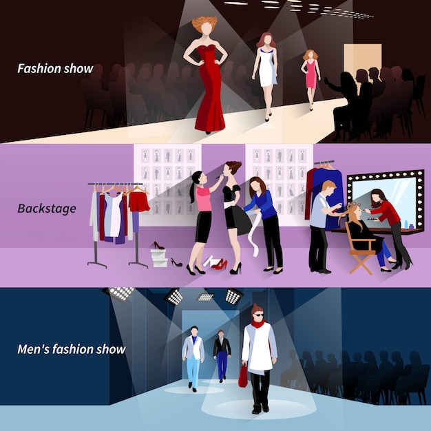 Fashion model horizontal banner set with flat show backstage elements Free Vector