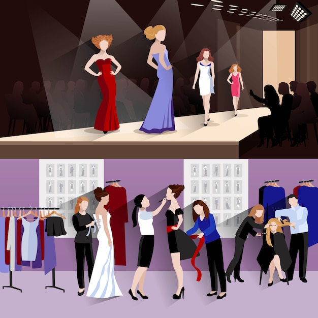 Fashion model horizontal banner set Free Vector