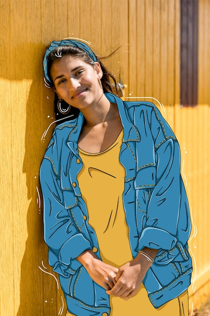Fashion model with casual outfit Free Vector