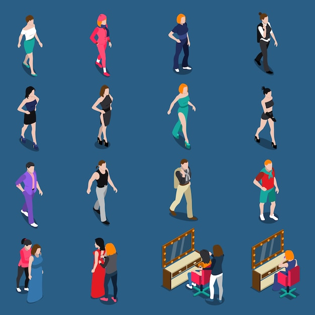 Fashion models isometric set Free Vector