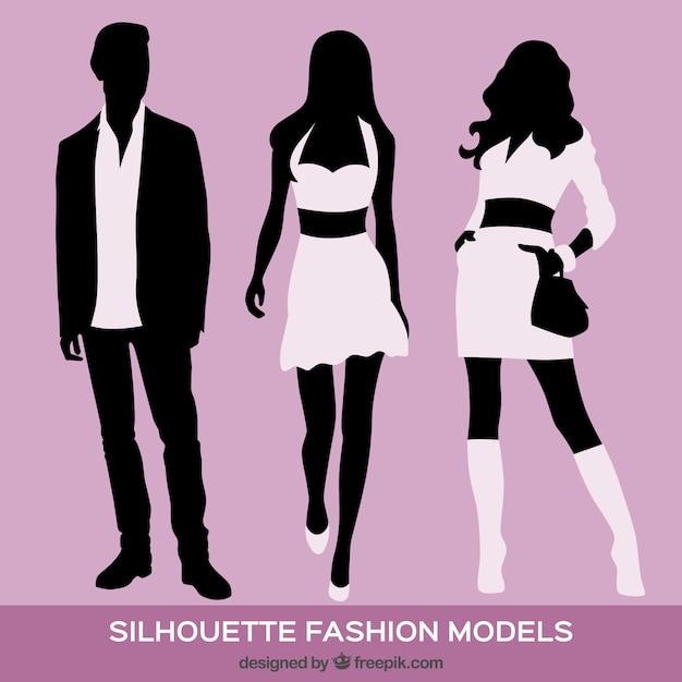 Fashion Models Sketch Hand Drawn Silhouette Pop Art
