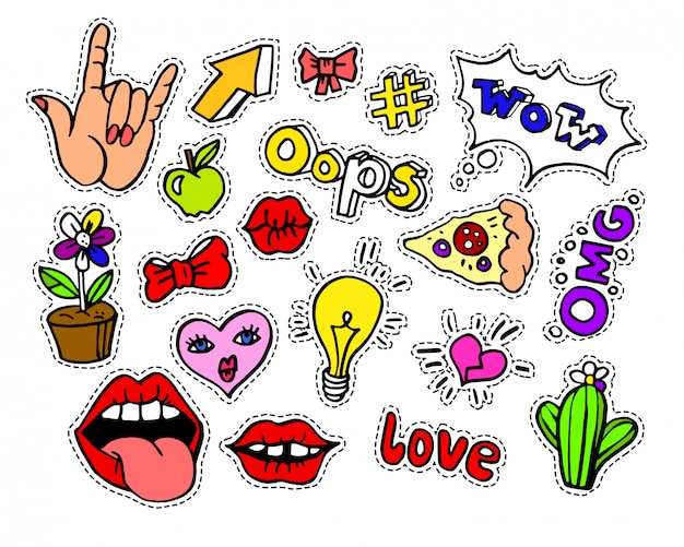 Fashion modern doodle cartoon patch badges or stikers Premium Vector