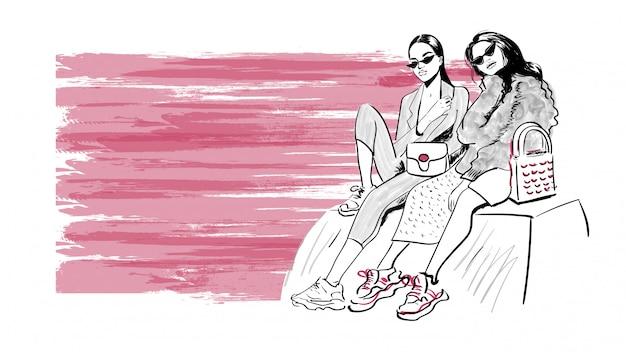 Fashion modern girls sketch Premium Vector