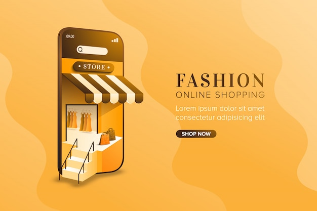 Fashion online shopping concept on mobile background Premium Vector
