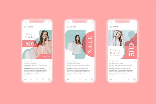 패션 유기농 판매 소셜 미디어 수집 무료 벡터