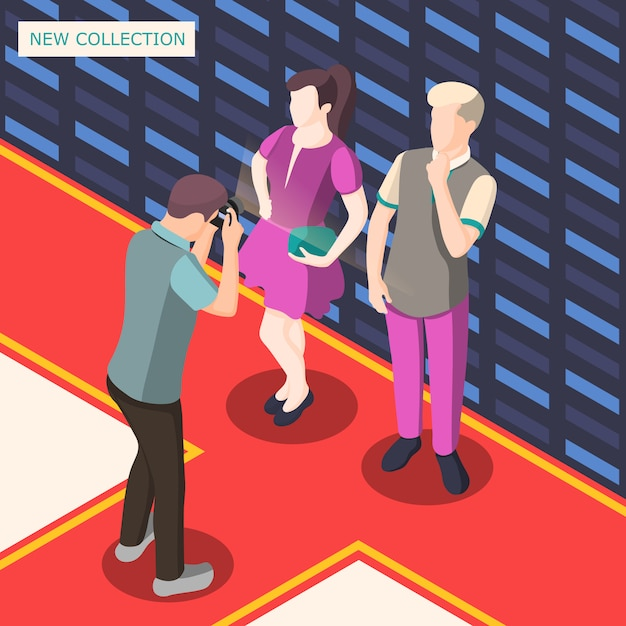 Fashion photo shooting isometric illustration Free Vector