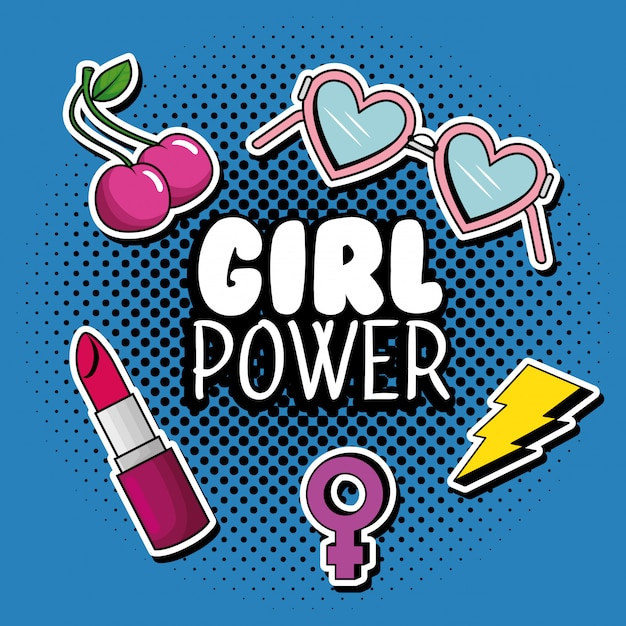 Fashion pop art with girl power message Free Vector