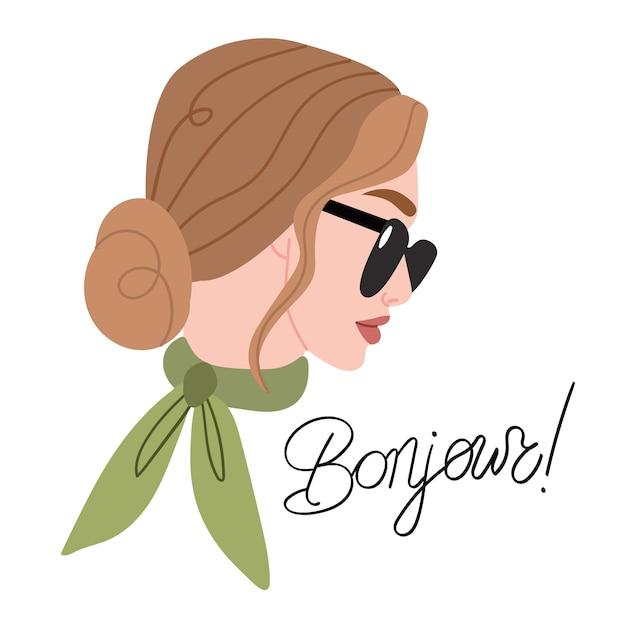 眼鏡と首にスカーフを持ったパリの女性のファッションの肖像画 Premiumベクター
